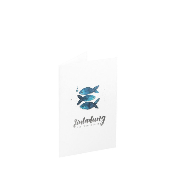 5er Set, Einladungskarten Konfirmation, Fische