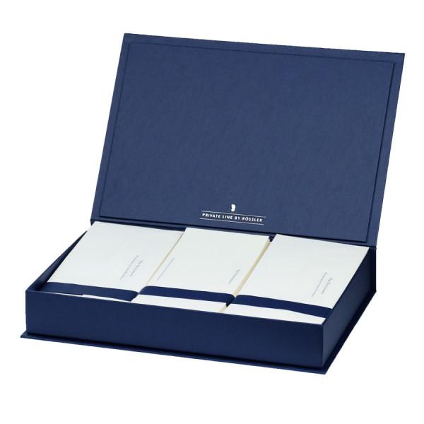 Briefpapierkassette personalisiert, Weißer Inhalt, Blau