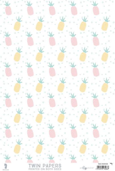 3er Pack Kreativpapiere zweiseitig, Ananas