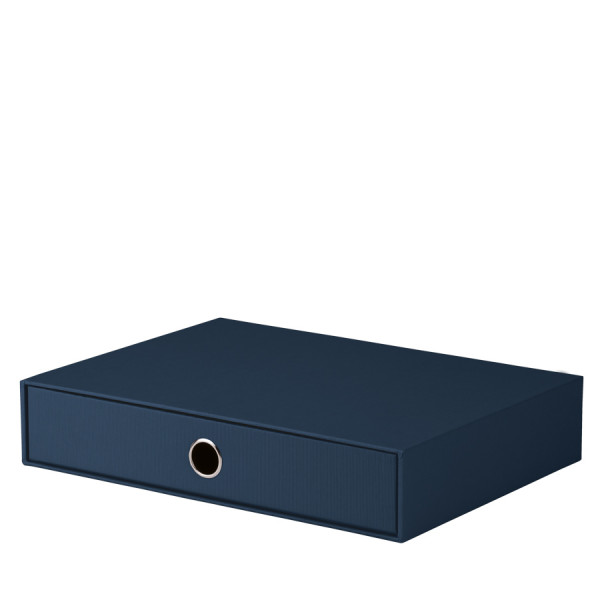 Schubladenbox für A4, Navy/Blau
