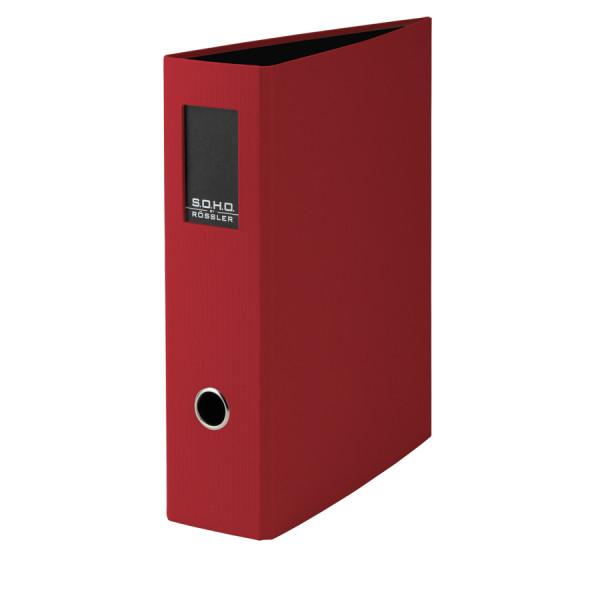 Hochwertiger SOHO A4 Ordner in Rot mit Rückenschild
