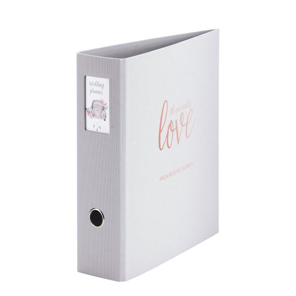 A4 Weddingplaner-Ordner in Grau mit Goldener Aufschrift, All you need is love