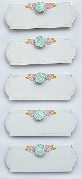 Sticker, weiße Labels mit Röschen