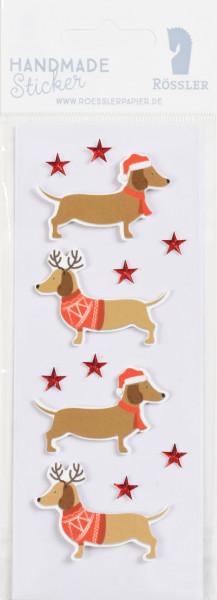 Sticker, Weihnachten, Dackel