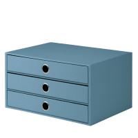 3er Schubladenbox für A4, Denim/Blau