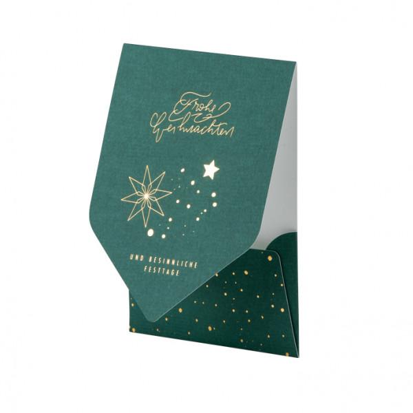 Weihnachtskarte, Sterne, Grün