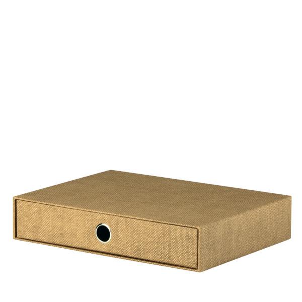 1er Schubladenbox für A4, Haselnuss/Braun