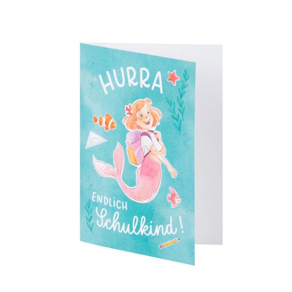 Glückwunschkarte, Hurra, Meerjungfrau