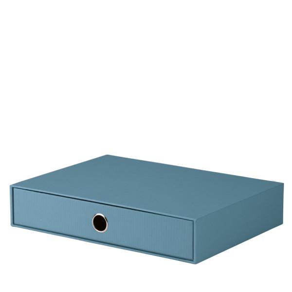 1er Schubladenbox für A4, Denim/Blau