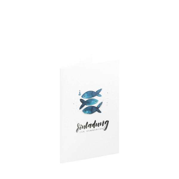 5er Set, Einladungskarten Kommunion, Fische